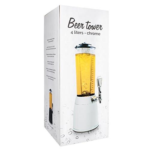 Luxus-Biertower-4-Liter-Trinksule-Biersule-Trinktower-XXL-in-Chrom-Optik