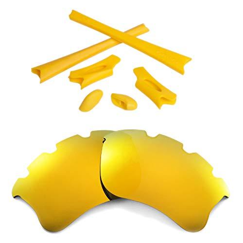 Walleva Polarisierte 24K Gold Vented Linsen + Gelbe Gummi Kit Für Oakley Flak Jacket XLJ