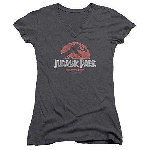 Jurassic Park Dinosaur Movie Spielberg Faded Logo Juniors V-Neck T-Shirt Tee