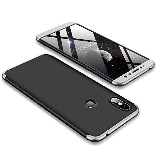 Bigcousin Xiaomi Redmi S2 Hülle, mit [1 x Panzerglas Schutzfolie] 3 in 1 Ultra Dünner PC Harte Schutzhülle 360 Grad Hülle Fullbody Case Cover für Xiaomi Redmi S2 - Silber + Schwarz