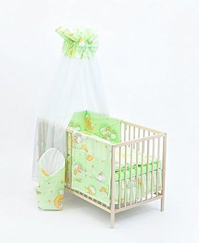 Ensemble set complet 13 pieces parure de lit literie pour bébé 70x140 (lit) (dessin: nounours dans le ciel_vert)