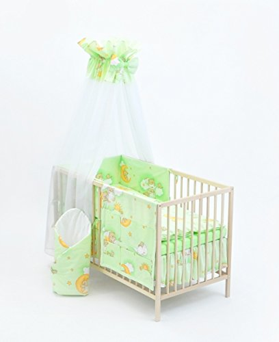 Velinda 13-tlg. Baby-Bettwäsche-Set Bettzeug Bettbezug Bettgarnitur für Babybett 70x140 (Muster: Teddy auf Wolke_Hellgrün)