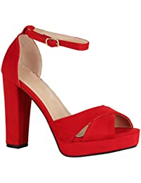 Stiefelparadies Damen Plateau Sandaletten Peeptoes Party Schuhe Pumps Blockabsatz High Heels Satin Samt Strass Fransen Flandell