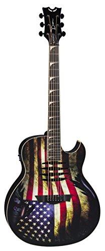 Dean Guitars Dave Mustaine Mako Glory-Chitarra elettroacustica, con stampa bandiera USA, colore: multicolore