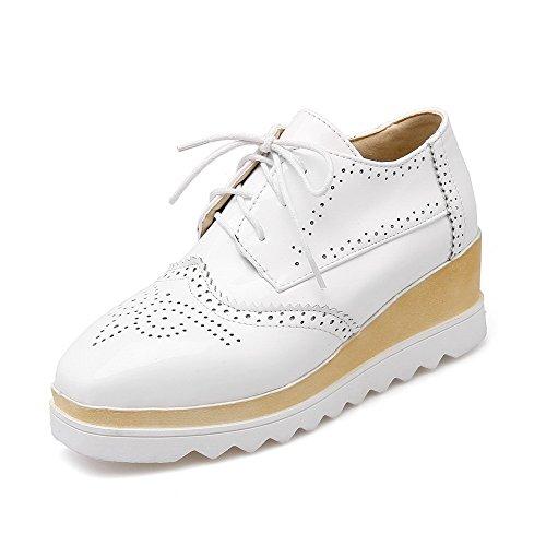 VogueZone009 Femme Rond à Talon Correct Couleur Unie Tire Chaussures Légeres Blanc