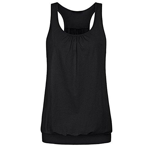 iHENGH Damen Sommer Top Bluse Bequem Lässig Mode T-Shirt Blusen Frauen Ärmellose Rundhals Bluse mit faltigem, Lockerem Racerback Workout Trägershirt für Damen(Schwarz, XL)