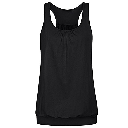 Lazzboy Shirts Damen Frauen Mode Sommer Training Atmungsaktiv Weste Patchwork Rennen zurück Ärmellose Rundausschnitt Flare Pulli Tunika Oberteile Hemd Blusen(Schwarz,2XL) Browning Shooting Vest