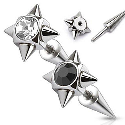 Faux piercing pointe en acier chirurgical 316L Taille 1,2 mm x 6 mm x 10 mm Clair