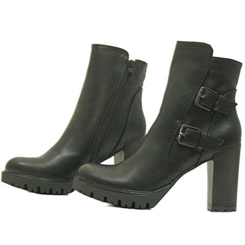 d464e68168df0a Kayla Shoes Chelsea Boots Plateau Stiefeletten mit Blockabsatz in Holzoptik  Schwarz Varia 3