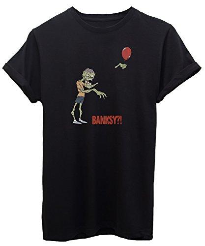 T-Shirt Zombie Banksy Balloon Walking Dead - Lustig - iMage - Baby-S - Schwarz