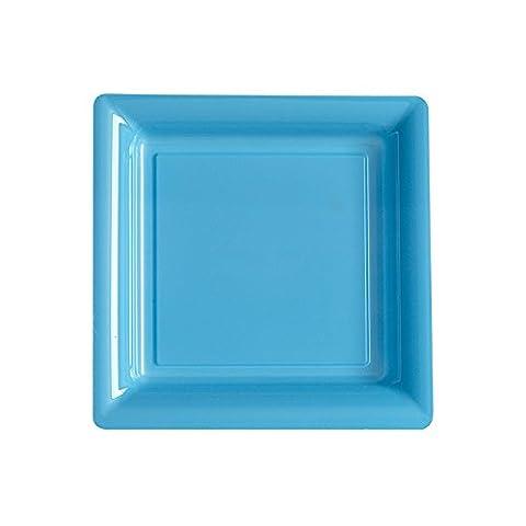 Isap France - 12 Assiettes Carrées Design En Plastique 18 X 18Cm Bleu Pastel