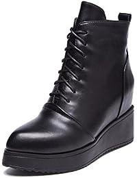 L@YC Botas Mujer Otoño / Invierno Rodilla Botas de cuero Más Puffs Toes redonda Oficina y Carreras / Ropa / Casual