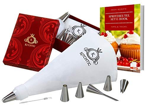 Kitchtic Premium Spritzbeutel-Set, [10 Teilig], extra beschichteter Baumwolle Spritzbeutel Geschenks Box, Adapter, 6 Edelstahl Spritztüllen, Reinigungsbürste, Plus E-Book I Spritztüte I Sahne Sack