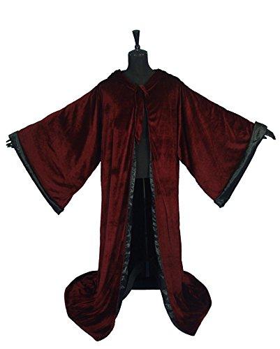 LuckyMjmy Samt Zauberer Wicca Robe Gothic Mantel mit Kapuze Umhang (Burgund-Schwarz)