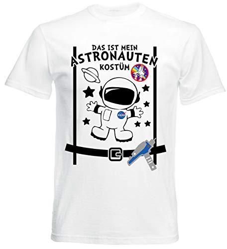 aprom T-Shirt Astronaut Kostüm Look - Raumfahrer Karneval AST, Weiß, - Weltraum Kostüm Männer