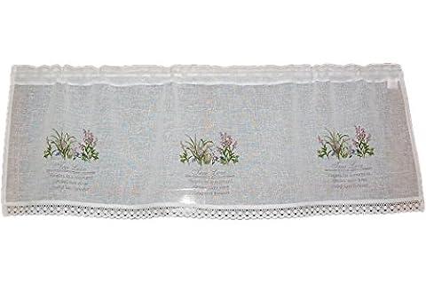 Gardine PANNEAUX Scheibengardine Romantik LANDHAUSstil Shabby rohweiß Wiesenblumen farbig True Love 40x120