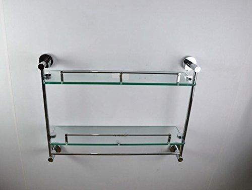 Sucastle Cuivre plein double pendentif verre étagère élargi avec barre salle de bain stand cosmétique cuivre Argent brillant QWERT