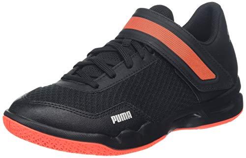 Puma Rise Xt 4 Jr, Scarpe da Calcetto Indoor Unisex-Bambini, Black/Silver/Nrgy Red 01, 2.5 EU