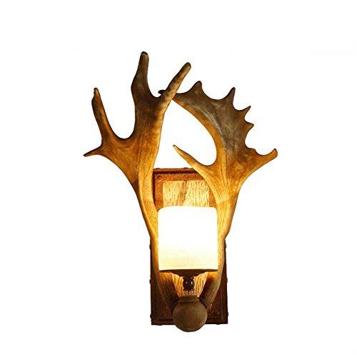 JUNMIN E14 Antlers lampada da parete Retro creativo per Hotel Bar Soggiorno Camera da letto Comodini decorazione del vetro resina Antler Staffa Lights , white