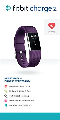 Fitbit Charge 2 Wireless Activity Tracker and Sleep Wristband (Large, Plum/Silver)