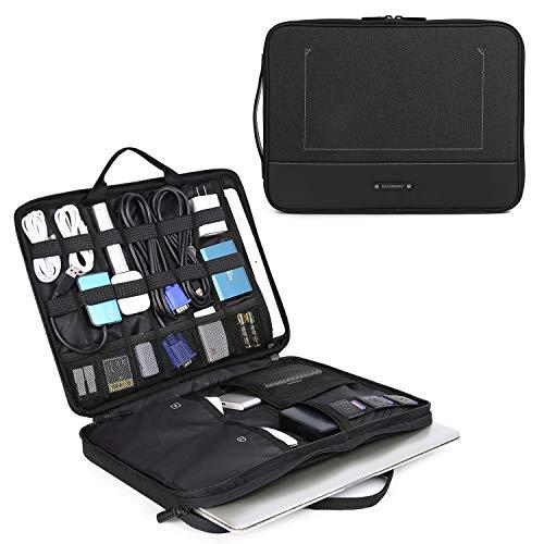 bagsmart Elektronik Zubehör Organizer Tasche Laptoptasche mit Tabletfach für 15 Zoll MacBook, 13,3 Zoll Laptop, 12.9 Zoll Tablet, Kabel, Ladegerät, Netzteil, Maus, Powerbank, Schwarz -