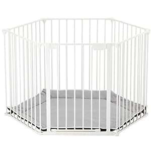 BabyDan BabyDen Playpen with Grey Playmat (White)