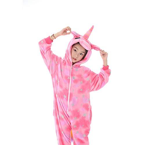 Kinder-Unisex-Cartoon-Einteiler-Pyjamas, Flanell-Vorder- und Hinterreißverschluss-Schlafanzug, geschlossene Augen Pferde Tiermodelle Lustige Kostüme im Kinderalter 5-15 Jahre,Pink,130