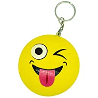 Girls Boys Girl Boy Children Child Kids - Emoji Keychain Icon Smily Stress Ball Soft & Sqeeze Toy - Perfect for Stocking Fillers Christmas Xmas Birthday Easter Present Gift Fun Toy & Games 5+