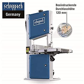 Scheppach Bandsäge HBS 261 (500W, max. Schnitthöhe 120mm, Durchlassbreite 245mm, bis zu 45° schwenkbarer Arbeitstisch, inkl. Querschneidlehre und 2. Sägeblatt)
