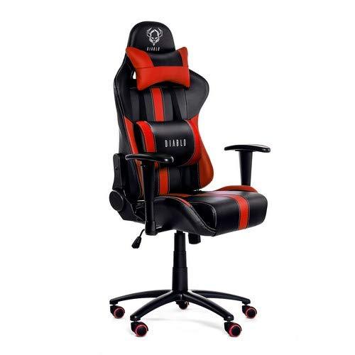 Diablo X-Player Silla Gaming de Oficina Reposabrazos Ajustables Almohada Y Cojin Lumbar Mecanismo De Inclinación Cuero Sintético (Negro-Rojo)