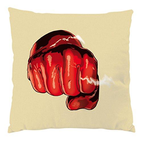 style3 One Punch Kissen mit Füllung 28 x 28 cm Baumwollbezug, Farbe:Sandgelb