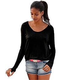 SODIAL(R) Autumn Winter Black Gray Cotton Women Top Long Sleeve T-shirt Sexy Backless T Shirt Open Deep Back Irregular Top Tee Shirt (Grey,S/US~4/UK~8)