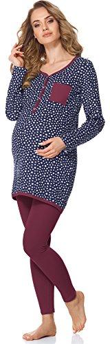 Bellivalini Damen Umstands Pyjama mit Stillfunktion BLV50-125 (Navy Sterne/Wein, S) (Sterne Navy)