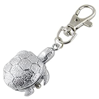 AKORD Texturierte Silberne Schildkrötenanhänger Hunter Gehäuse Schlüsselring Uhr