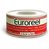 Euroreel (m 5 x cm 1,25) Esparadrapo de Tela Blanca con Adhesivo de óxido de Zinc,Altamente Hipoalergénico.