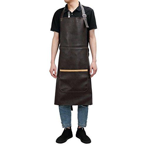 Delantal de taller de cuero con correa de cintura ajustable y función
