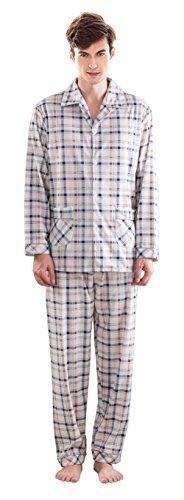 Herren Klassische Schlaf Und Entspannungsverschleiss Langes Hulsen Knopf Hemd Und Hosen Baumwoll Pyjamas White
