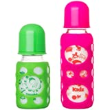 Naughty Kidz Premium Warmer Glass Bottle With Ultrasoft LSR Nipple||Silicone Bottle Warmer||Key TEETHER||Hood Retaining Cap And Sealing DISC RING-120ML+240ML (Green+Pink)