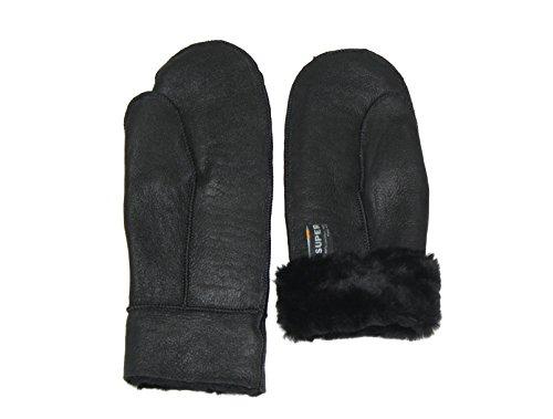 SUPER s6x FESTE Lammfell Handschuhe Lammfell Fäustlinge schwarz mit schwarzen Lammfell, Damen und Herren, Größenbeschreibung siehe Produktbeschreibung