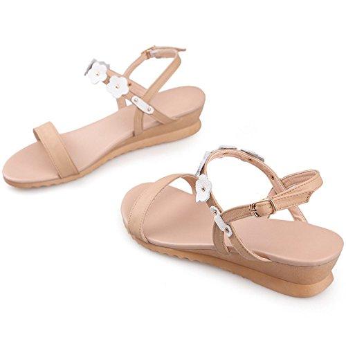 COOLCEPT Damen Mode Knochelriemchen Sandalen Open Toe Keilabsatz Schuhe Mit Blume White