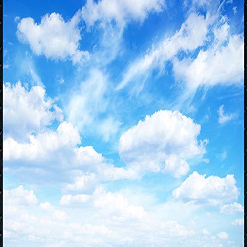Hd Print Poster Picture 3D Stereo Deckentapete Tapete Blauer Himmel und Weiße Wolken Fresko 53cmx47cm (Und Himmel Wolken)