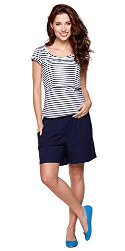 Be! Mama 2in1 Umstandsoverall, Umstandsshirt /Stillshirt und Shorts in einem, Modell: NOEL - hochwertige Baumwolle, Größe SM