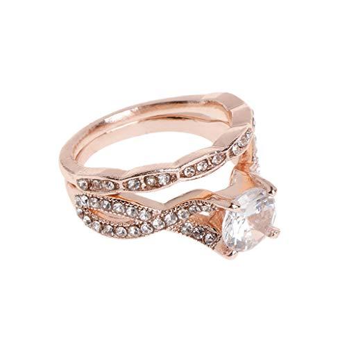 Jagetrade anelli, fede nuziale gioielli da donna in oro rosa lucido lusso di fascia alta delicato forniture da sposa anelli di decorazione, 7