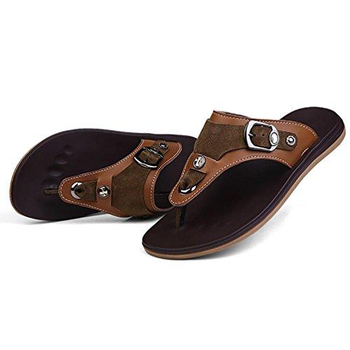 SHANGXIAN Masculine Summer Beach Wear Tongs sandales Casual en cuir brown
