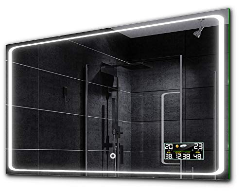ALASTA® Espejo | Espejo Decorativos | 100x70 | Barcelona | Espejo LED Iluminado por LED | Interruptor...