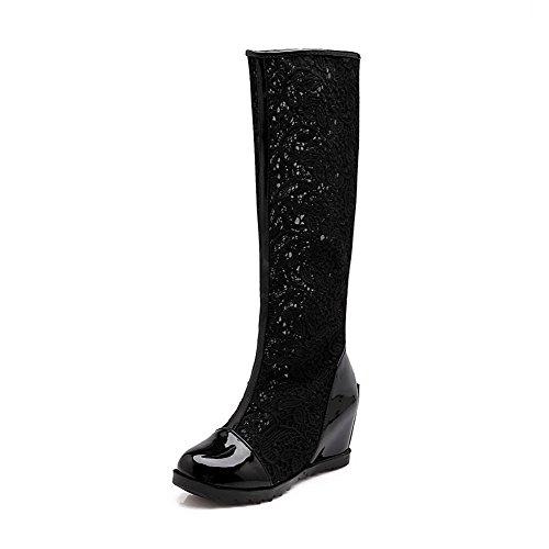 AllhqFashion Damen Gemischte Farbe Niedriger Absatz Blend-Materialien Reißverschluss Stiefel, Weiß, 37