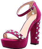 Calaier Damen Calxdm 12CM Blockabsatz Schnalle Sandalen Schuhe, Rot, 40.5