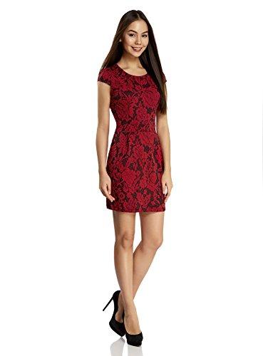 oodji Ultra Damen Enges Kleid aus Strukturiertem Stoff Rot (2945F)