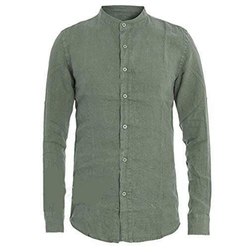 Diemme intimo camicia uomo collo alla coreana, manica lunga, 100% puro lino (xl, verde bosco)