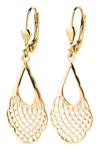 Ardeo Aurum Damen Hänge-Ohrringe aus 333 Gold Gelbgold Brisuren Hänger ohne Stein hochglanz-poliert oval Gitter wellig